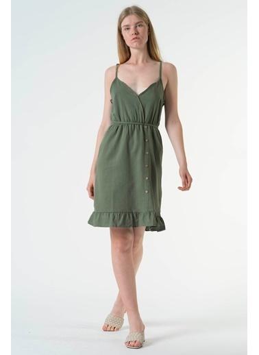 Reyon Askılı Bel Lastikli Günlük Keten Elbise Hardal Haki